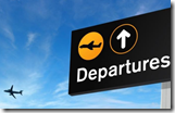Airport departures sign as population declines