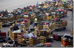 Photo of airline baggage carts