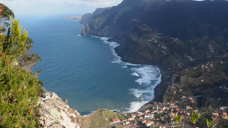 Aerial view of Porto da Cruz, where a church service was thought to be being held behind closed doors