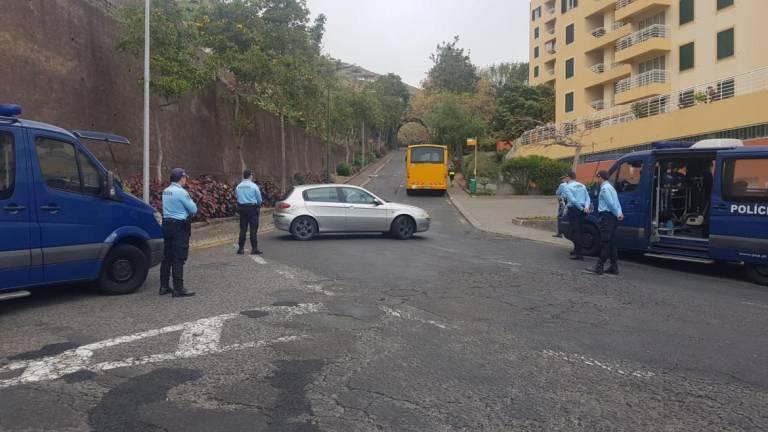 Police blocking car access to Praia Formosa