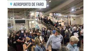Queueing Brits at Faro airport