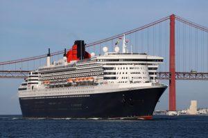 cruise ship entering Lisbon