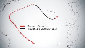 Map of the path of the tropical storm Paulette, which is influencing the weather in Madeira