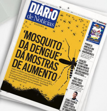 Diario front page reporting increase in dengue mosquito