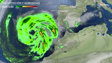 Satellite photo showing developing weather with heavy rain