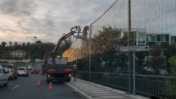 Christmas illuminations being tested