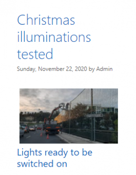Blog post reporting Christmas lights being tested