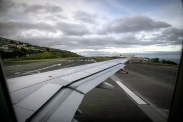 View of Madeira Airport from inside plane