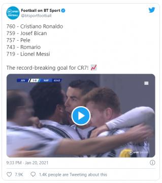 BT Sport tweet about Ronaldo