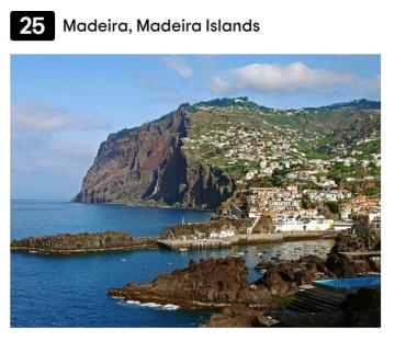 Madeira voted Top tourist Destination: