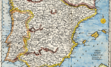 Old map showing border between Spain and Portugal