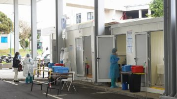 Testing centre for COVID cases at the main hospital