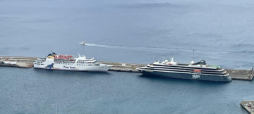 """""""World Voyager"""" in Porto Santo with the ferry"""