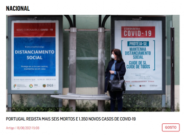 COVID-19 poster on a Portuguese bus stop