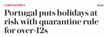 Telegraph headline about quarantine foor over  12s