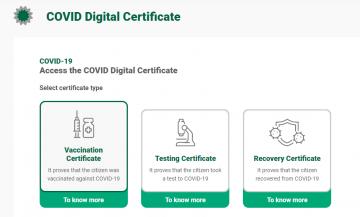 Covid Digital Certificate online application