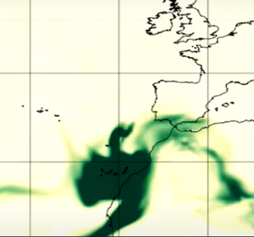 Windy map of gas and dust from the La Palma volcano