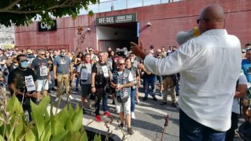 Motorcyclists protest outside CR7 Hotel