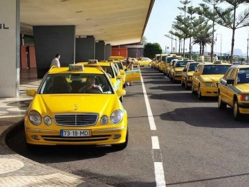Taxis queueing at Madeira Airport
