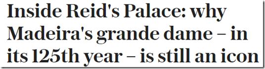 Telegraph headlin on Reid' Palace