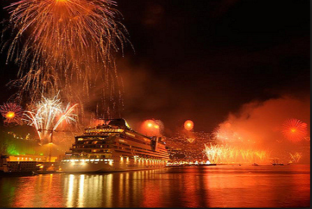 bay of Funchal, liner and fireworks