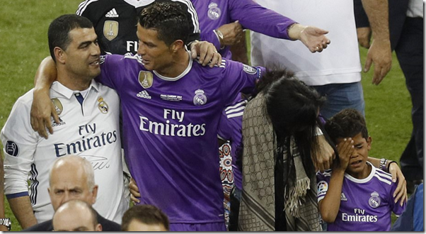 Ronaldo with family after Champion's League triumph