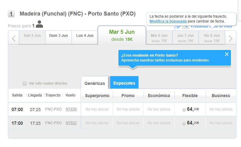 Binter Porto Santo flights website