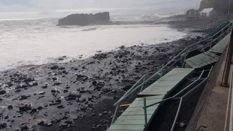 Praia Formosa walkways damaged by Hurricane Leslie