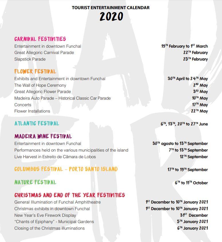 Festival Calendar 2020