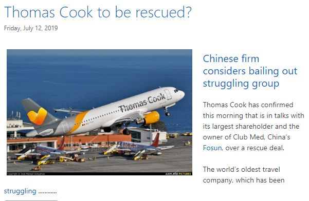 Scxreen snap of first post about the possible rescue of Thomas Cook