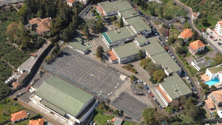 Aerial view of the Madeiran school where staff travelled to coronavirus hotspot in northern Italy last week